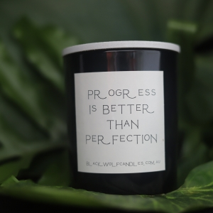 Quote Candle – Progress is Better than Perfection